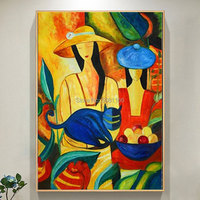 hand painted Bright colored woman cat Wall Art Picasso girl oil painting Famous Modern figure canvas wall pictures home decor