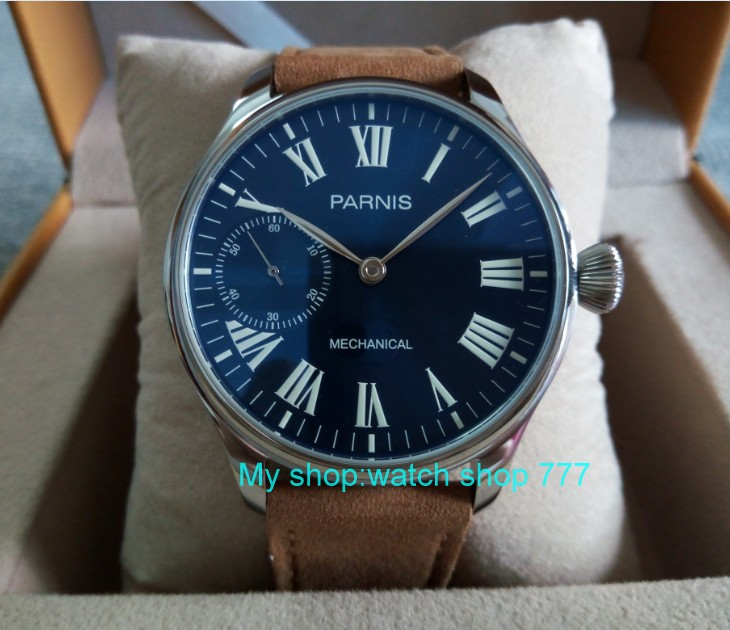 44mm PARNIS Blue dial Asian 6498 17 jewels Mechanical Hand Wind movement men's watch luminous  Mechanical watches zdgd24A limited edition watch 50mm big dial parnis men s watch asian 6498 mechanical hand wind pvd black watchcase 84aa