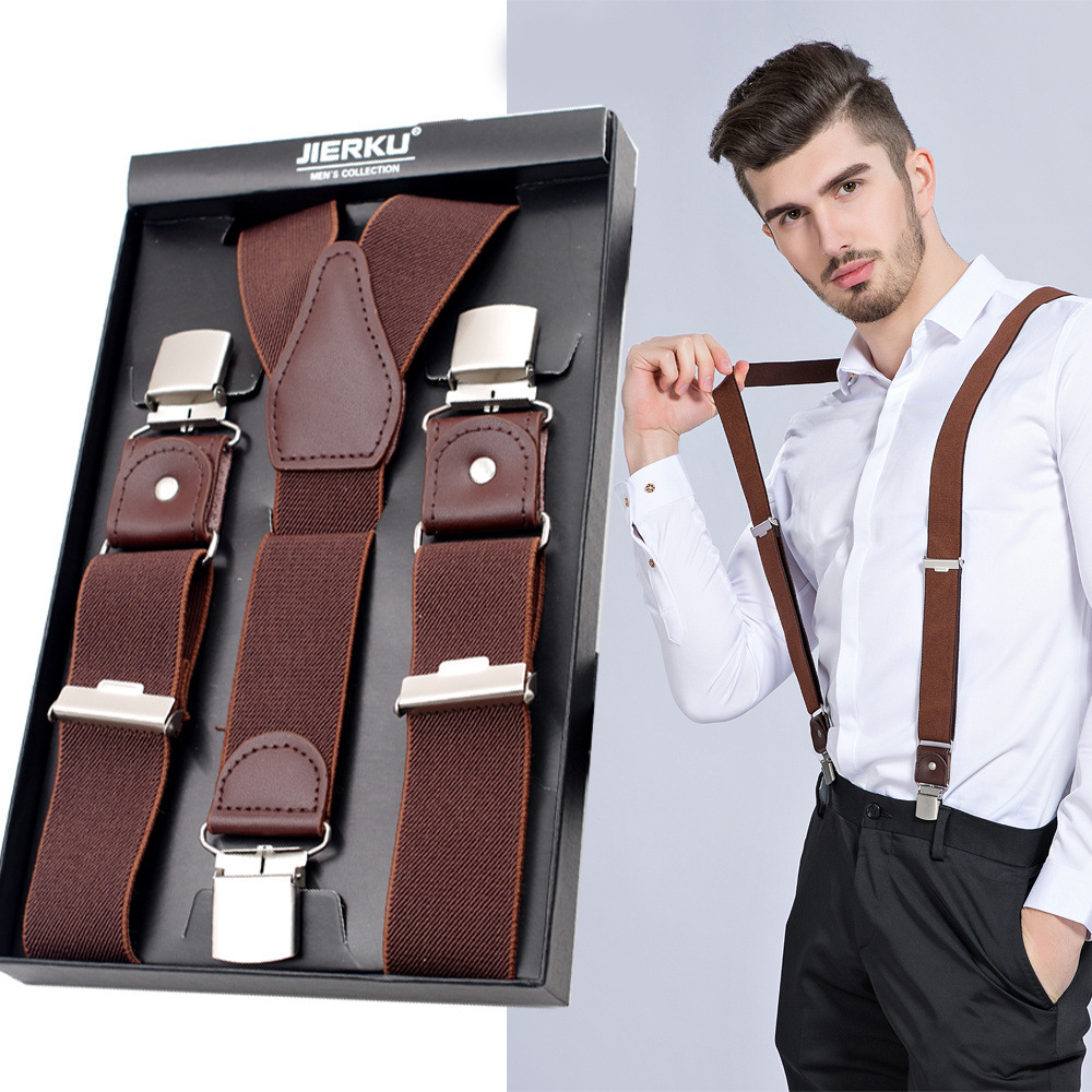 Mans Suspenders 4 Clips Leather Braces 2018 Hot Sale Casual Trousers Strap Shirt Suspender Gift For Father
