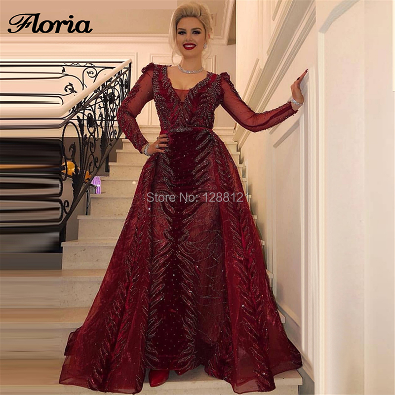 Sparkly Dubai Design robes de soirée formelles jupe détachable nouvelle islamique saoudienne arabe longue robe de bal robe de soirée 2019 caftans