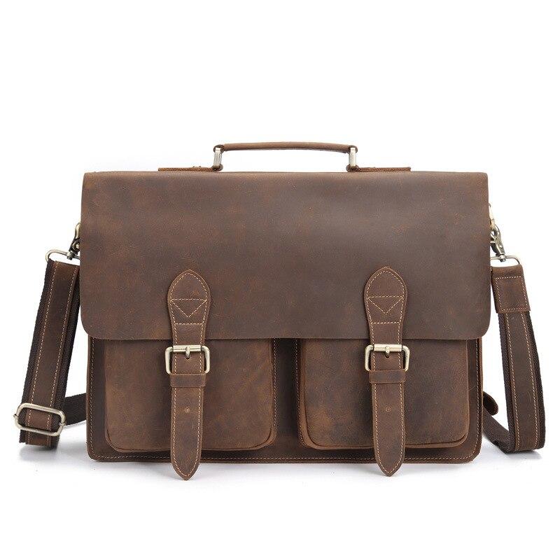 Leather Bag Messenger Men Handbag Laptop Business Portfolio Briefcase Satchel