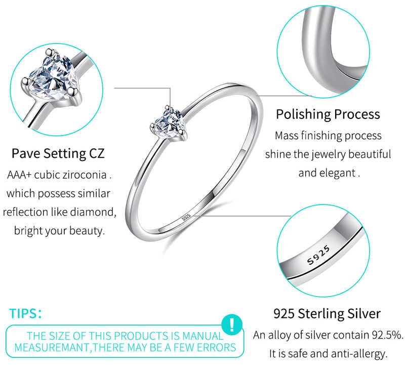 Большая скидка 90%! Тонкий 3 цвета оригинальный серебро 925-й пробы простое кольцо романтическое сердце кубический камень цирконий Свадебные Кольца для женщин HR772