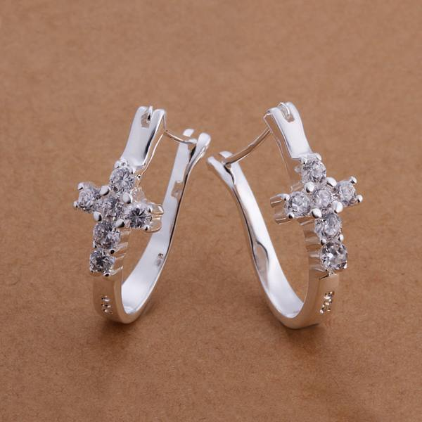 Buy For women lady wedding elegant gorgeous design Silver color inlaid stone cross Earring Jewelry free shipping factory price E311 for only 1.4 USD