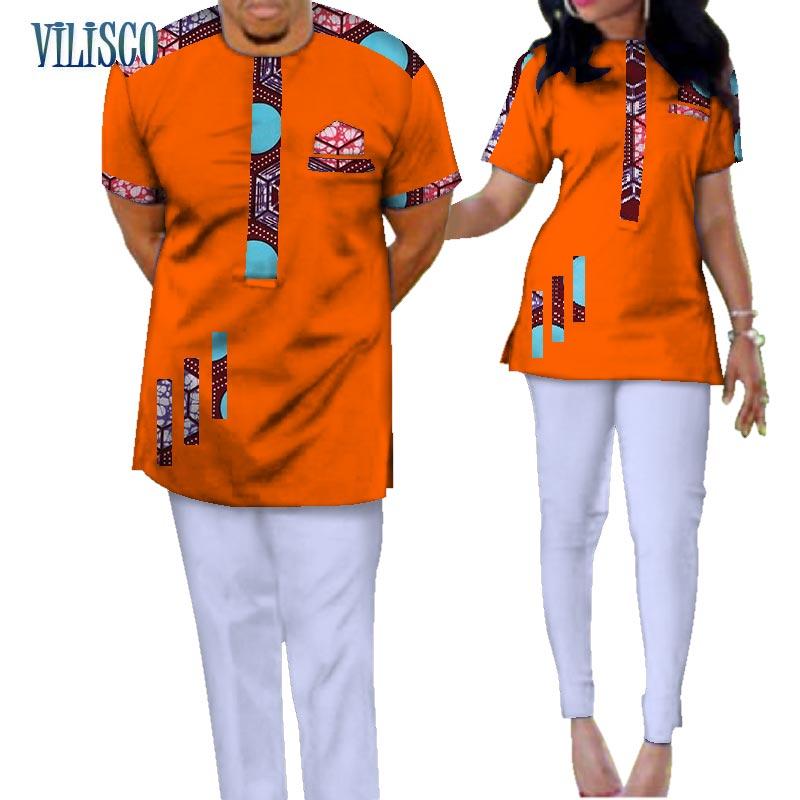 Traditionnel Bazin Riche Africain Imprimer Patchwork Top et Pantalon Ensembles pour Couple Vêtements 2 pièces Ensembles Amant Couples Vêtements WYQ73