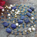 "72"" White Round Pearl Blue Jade Agate Chain Necklace   free shippment"
