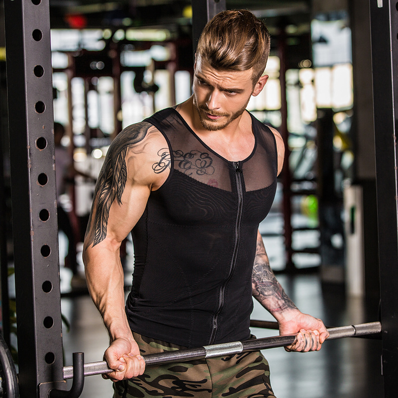 Hot Sale Elastic Compression Fitness Clothing Men O-Neck Body Shaping   Tank     Tops   Summer Workout Male Bodybuilding Sleeveless Vest