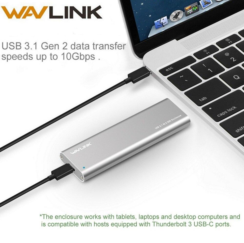 Wavlink Adapter Enclosure Docking Hard-Drive Type-C SATA Aluminum M.2 Ssd Gen B USB