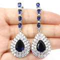 Long Drop Created Tanzanite, White CZ SheCrown Woman's Wedding  Silver Earrings 59x20mm