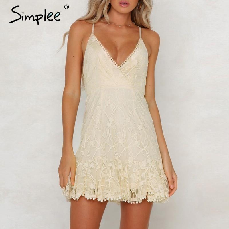 Simplee сексуальное летнее платье с v-образным вырезом женское платье с вышивкой на тонких бретельках Сетчатое тонкое платье плюс размер вечер...