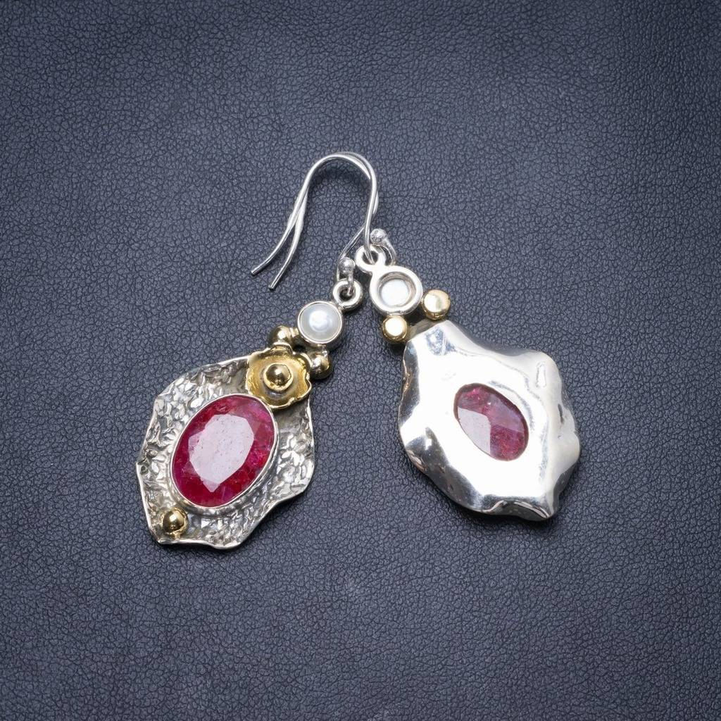 цена на Natural Two Tones Cherry Ruby and River Pearl Handmade Unique 925 Sterling Silver Earrings 2