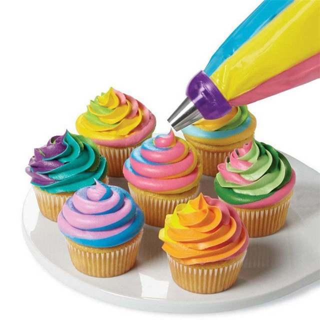 Placeholder 3 Löcher Kuchen Dekoration Werkzeug 3 Farben Mischen Konverter Für  Kuchen Sahne Blume Zuckerglasur Friedliche