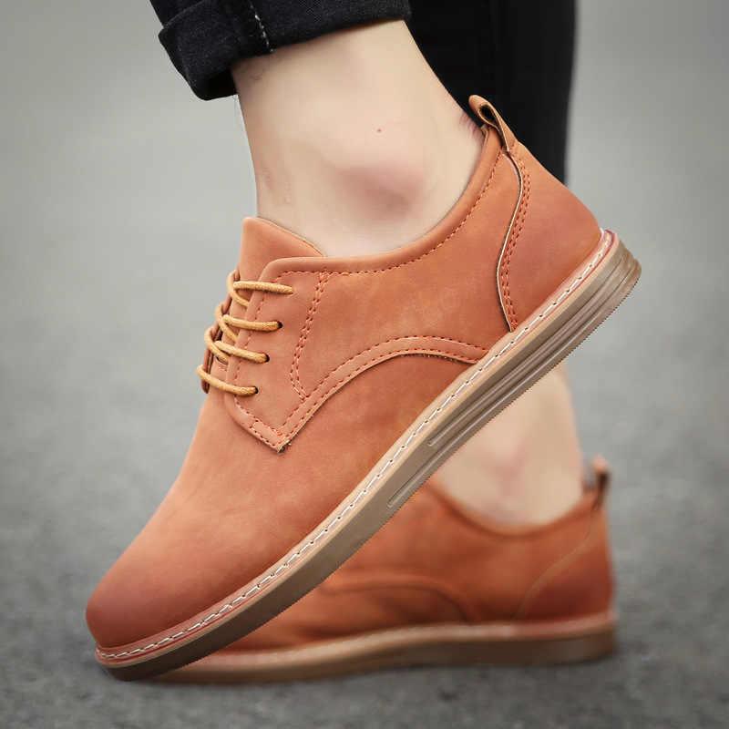 LAKESHI ผู้ชายรองเท้าสบายๆสบายๆ Loafers แฟชั่น Lace-up คุณภาพรองเท้าหนัง PU รองเท้าผู้ชาย Sneakers 2019 ฤดูใบไม้ผลิผู้ชายรองเท้าแบน