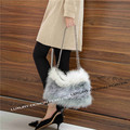 Sweet Chic Fluffy feather Women Shoulder bag Faux fur Chain Bag purse Fashion Runway bag Bolsa