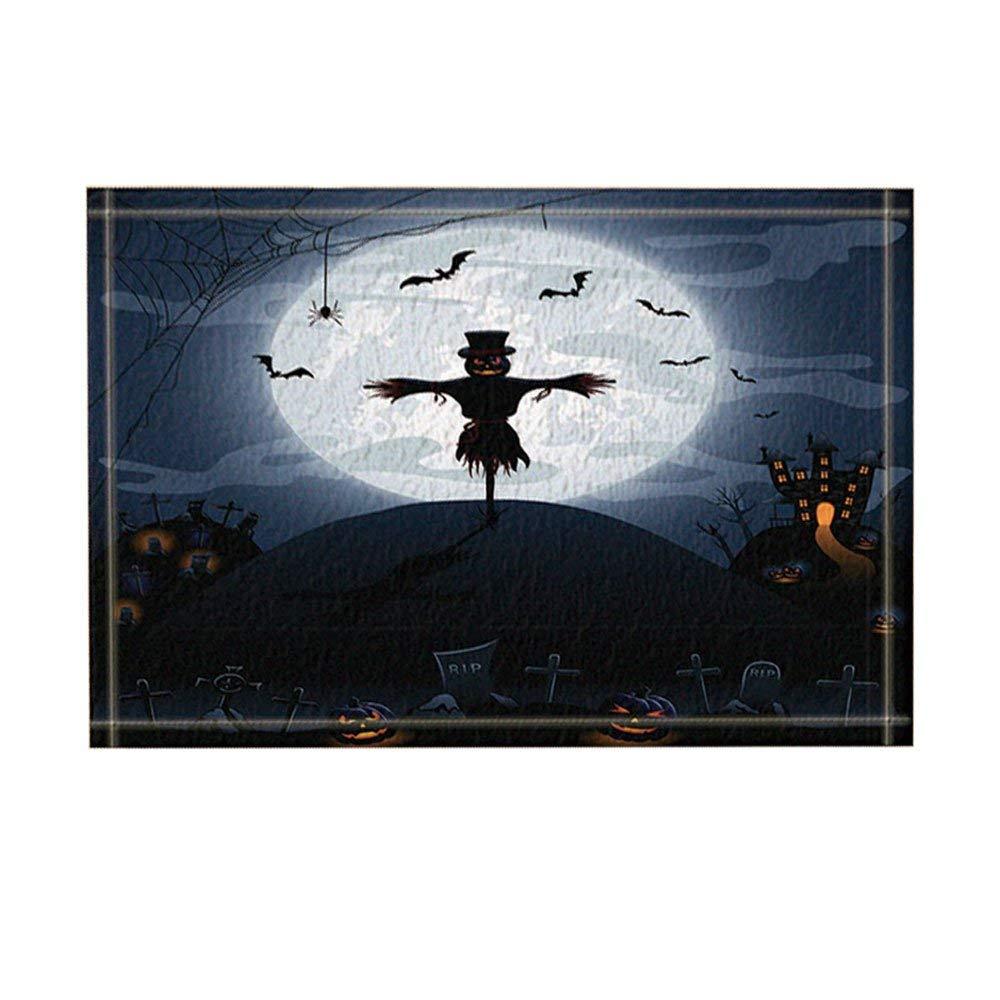 KOTOM Scarecrow Decor,Halloween Night Background with Castle and Pumpkins Bath Rugs,Non-Slip   Indoor  Door Mat,Kids Bath Mat