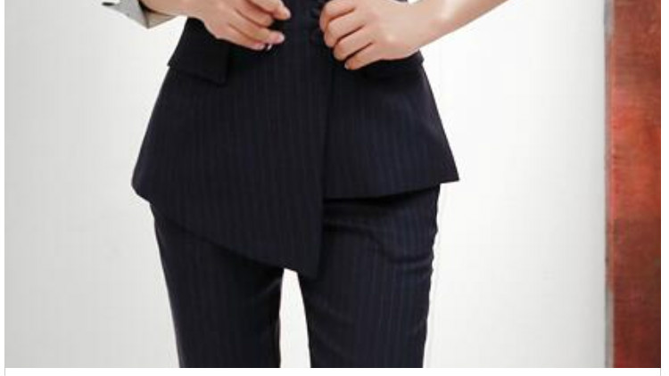 Suit female 2018 autumn temperament professional casual striped small suit + slim trousers elegant two-piece women's fashion