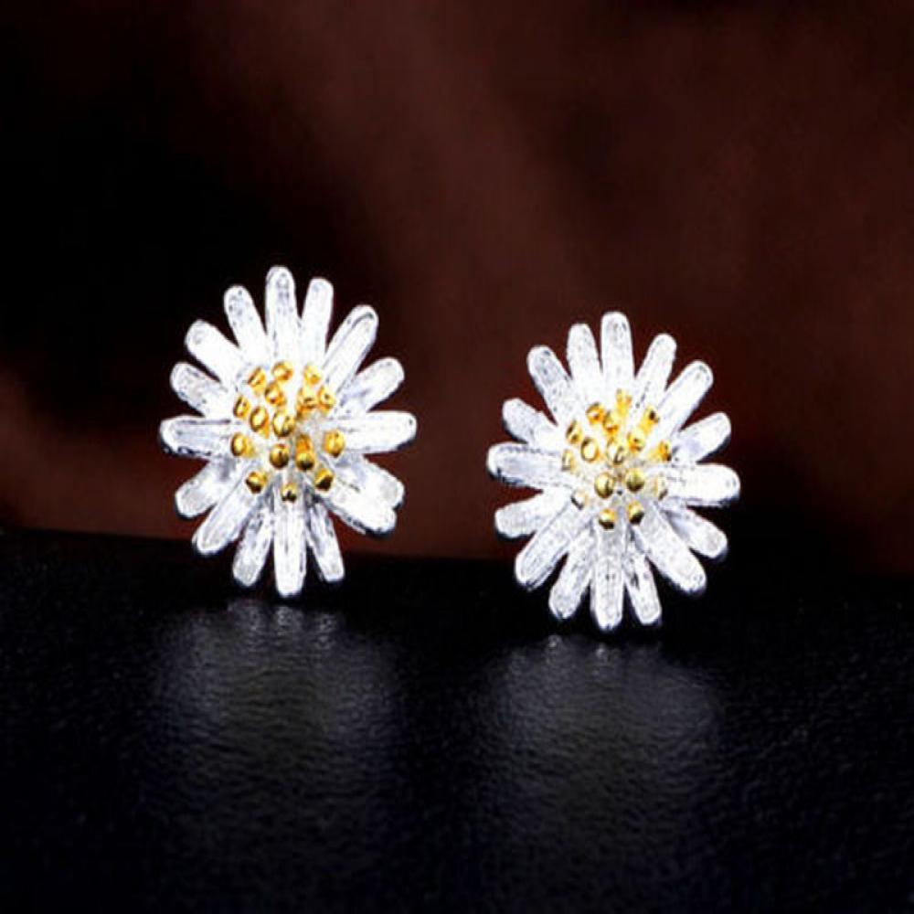 5543a25fd648 1 Pair Silver Plated Earrings Stud Women Chrysanthemum Shape Ear Studs 9 9  mm Fashion Jewelry Daisy Earring