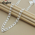"""ANDARA 925 Silver 10MM 22""""24""""26"""" Men Figaro Chain Necklace For Men Silver 925 Jewelry Statement Necklace N185"""