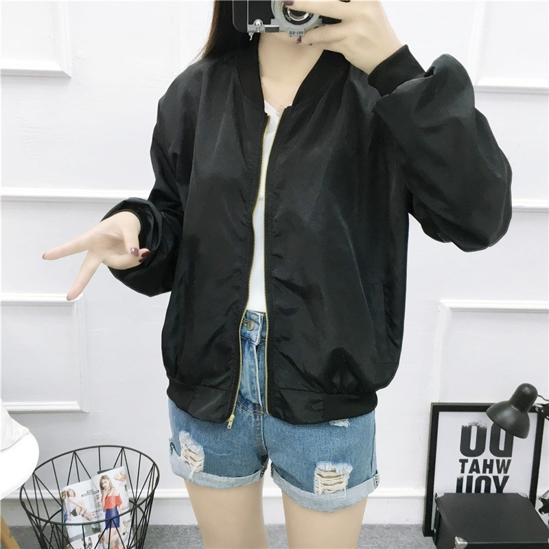 Autumn Women Pink Stand Collar Zipper Letter Casual Jackets Full Back Patch Ribbon Oversized Bomber Jacket in Jackets from Women 39 s Clothing