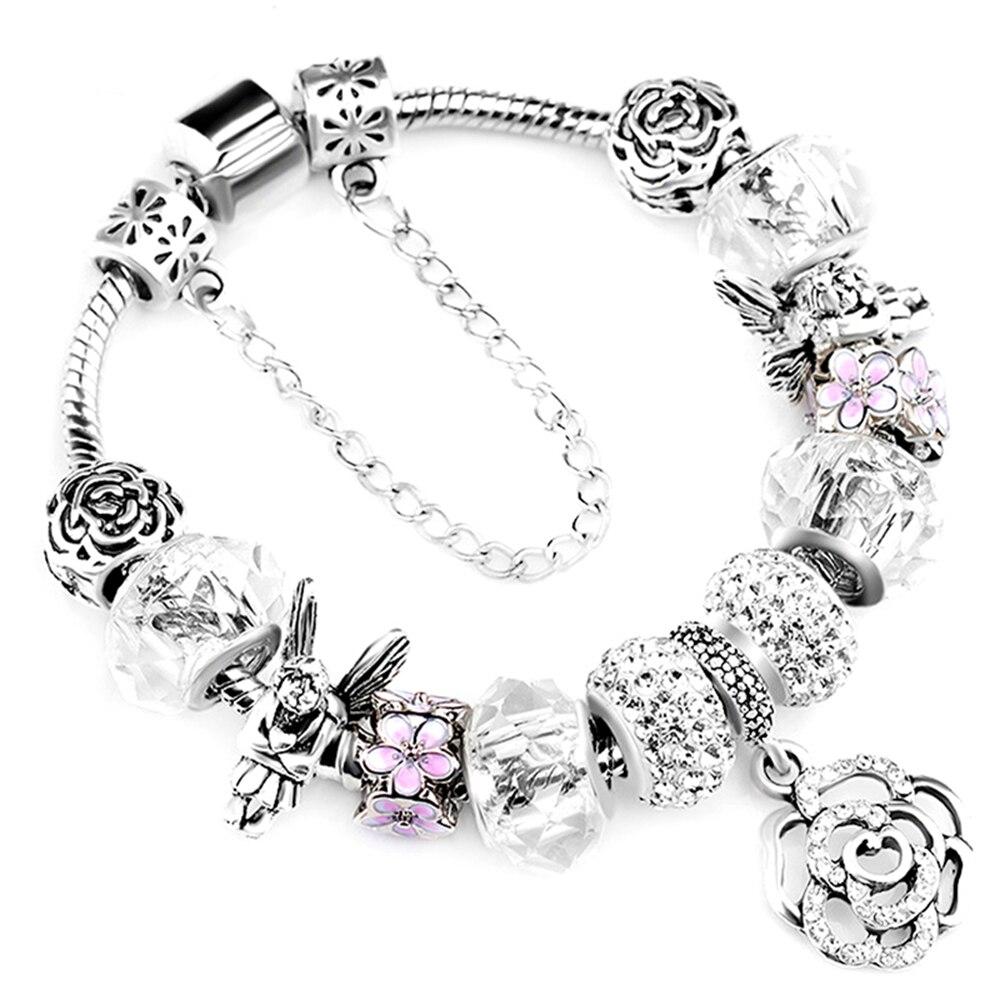 New Design Silver Rose Charms Bracelet Bangle for Women DIY Crystal Angel Beads Fit Brand Bracelets Women Pulseira Jewelry пандора браслет с шармами