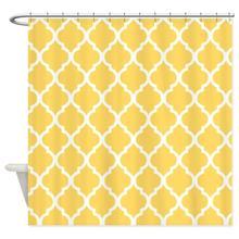 Art Gallery Mustard Yellow Quatrefoil Pattern Fabric Shower Curtain Super Soft Bath Great For Friends Birthday Gift