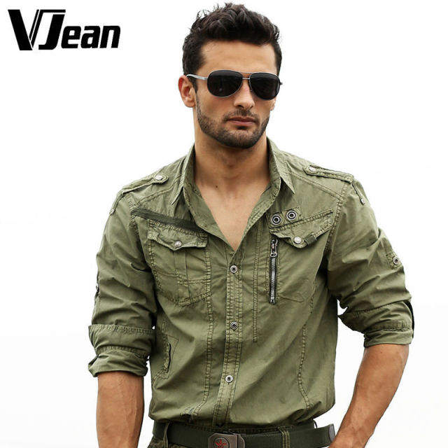 V jean men 39 s safari epauleted roll up sleeve casual shirt for How to roll up sleeves on women s dress shirt