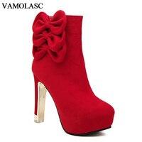 VAMOLASC New Women Autumn Winter Warm Faux Suede Ankle Boots Zipper Square High Heel Boots Platform