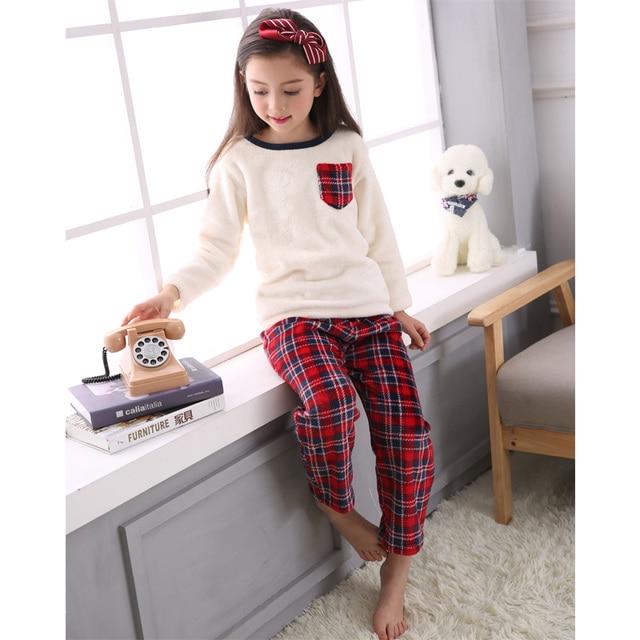 Children Flannel Pajamas Winter Warm Coral Fleece Nighties Classical Plaid Sleepwear  Pajama Set Lounge Coral Fleece 37ed9b9bf