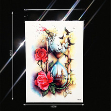 Sexy Temporary Tattoo Style Glass Roses Henna Tattoo Paste PHB-509 Flying Birds Crow Hourglass Designs Fake Tattoo Legs