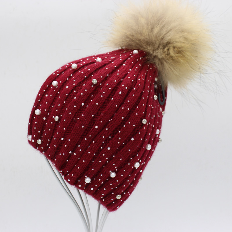 Mink And Fox Fur Ball Cap Pom Poms Winter Hat For Women Girl 's Wool Hat Knitted Cotton Beanies Cap Brand New Thick Female Caps mink and fox fur ball cap pom poms winter hat for women girls wool hats knitted cotton beanies skullies caps thicken female hats