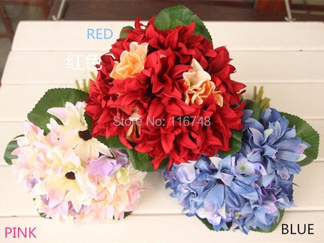 5 color silk COSMOS brooch wedding bouquet bride fleurs poignet blanc silk boutonniere