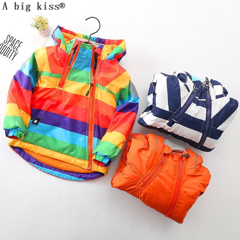 Autumn Winter Children Outerwear Warm Coat Hooded Thickening Waterproof Windproof Boys Girls Jackets