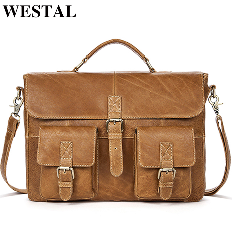 WESTAL Business Men Briefcases Genuine Leather Messenger Bag Men Leather Laptop Bag Office Bags For Man Portable Briefcases 8927