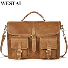 WESTAL Business Men Briefcases Genuine Leather Messenger Bag Men Leather Laptop Bag office bags for man Portable Briefcases 8927