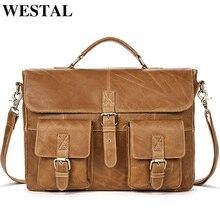 WESTAL Business Men teczki skórzana torba mężczyźni skórzana torba na laptopa torebki biurowe dla człowieka przenośne teczki 8927
