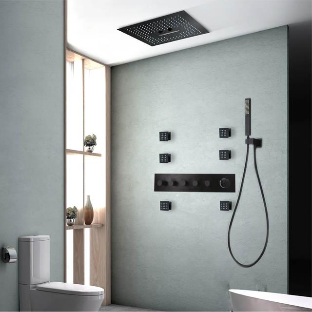 Robinet de douche salle de bain noir plafond 304 SUS pomme ...