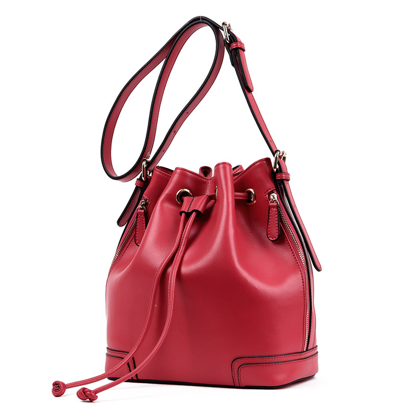 Jofeanay 2017 spring and summer new leather drawstring bucket handbags Europe and the United States fashion first layer of leath 2017 europe and the united states fashion color hooded long section of the windbreaker spring new cotton jacket girl red jacket