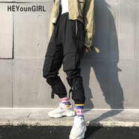 HEYounGIRL-pantalones Cargo negros de Hip Hop para mujer, pantalón informal Punk, Harajuku, Capris, elásticos, de cintura alta, pantalones de chándal para mujer