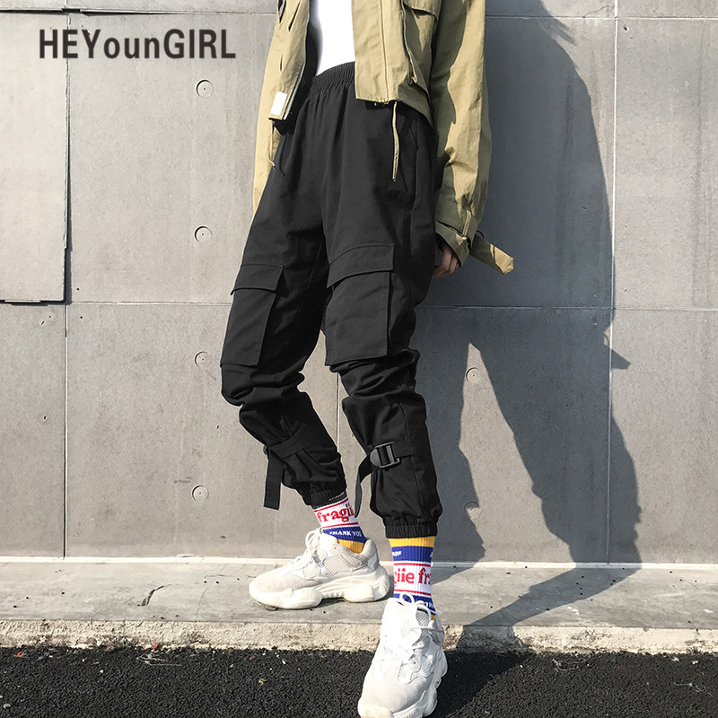 HEYounGIRL Black Hip Hop Cargo Pants Women Harajuku Punk Casual Pants Capris Elastic High Waist Trousers Female Sweatpants