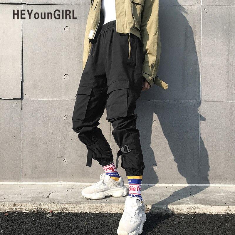 HEYounGIRL Black Hip Hop Cargo Pants Women Harajuku Punk Casual Pants Capris Elastic High Waist Trousers Female Sweatpants