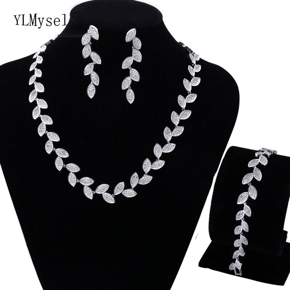 Trendy Necklace Earrings Bracelet 3pcs jewelry set for party CZ crystal High quality beautiful leaf jewelry sets