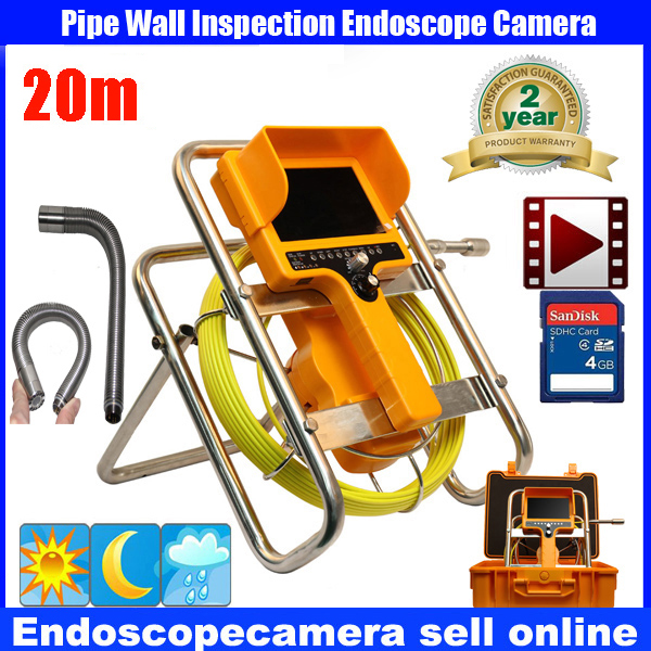 20m Cable Fiber Glass 7''  Waterproof Pipe Sewer Inspection DVR Camera 1000TVL 12Leds 90 degree Endoscope Snake Camera