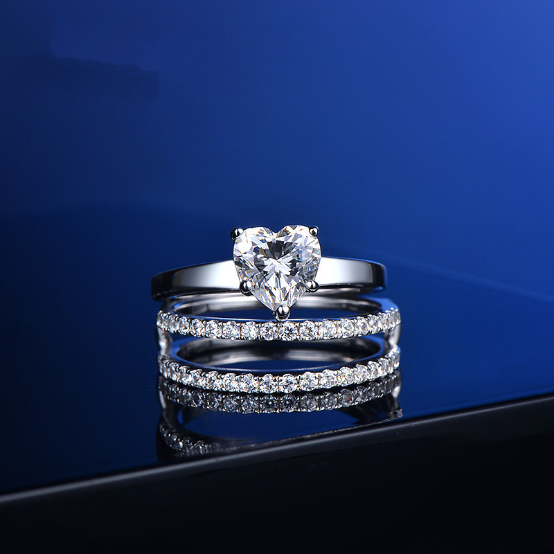 1Ct Heart Shape 925 Sterling Silver Ring Set Three Rings Two Bands