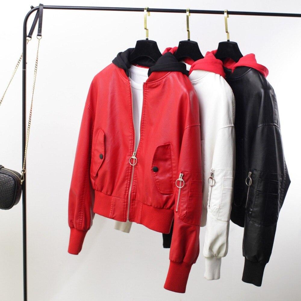 Loose   Leather   Jacket Women 2019 Fasion Winter Autumn Motorcycle Jacket Fashion Hooded Solid Women's Coats Ladies   Leather   Jacket