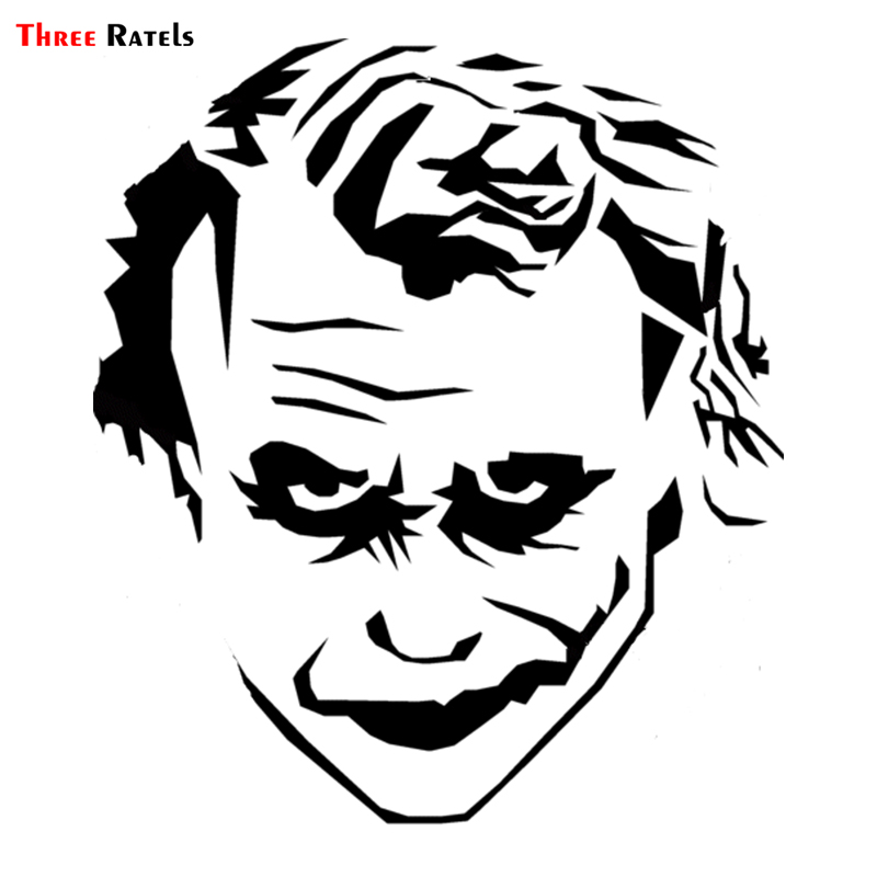 Three Ratels LBH559# 13x15cm Funny Car Stickers A Smiling Joker With Handsome Hairstyle Car Stickers And Decals