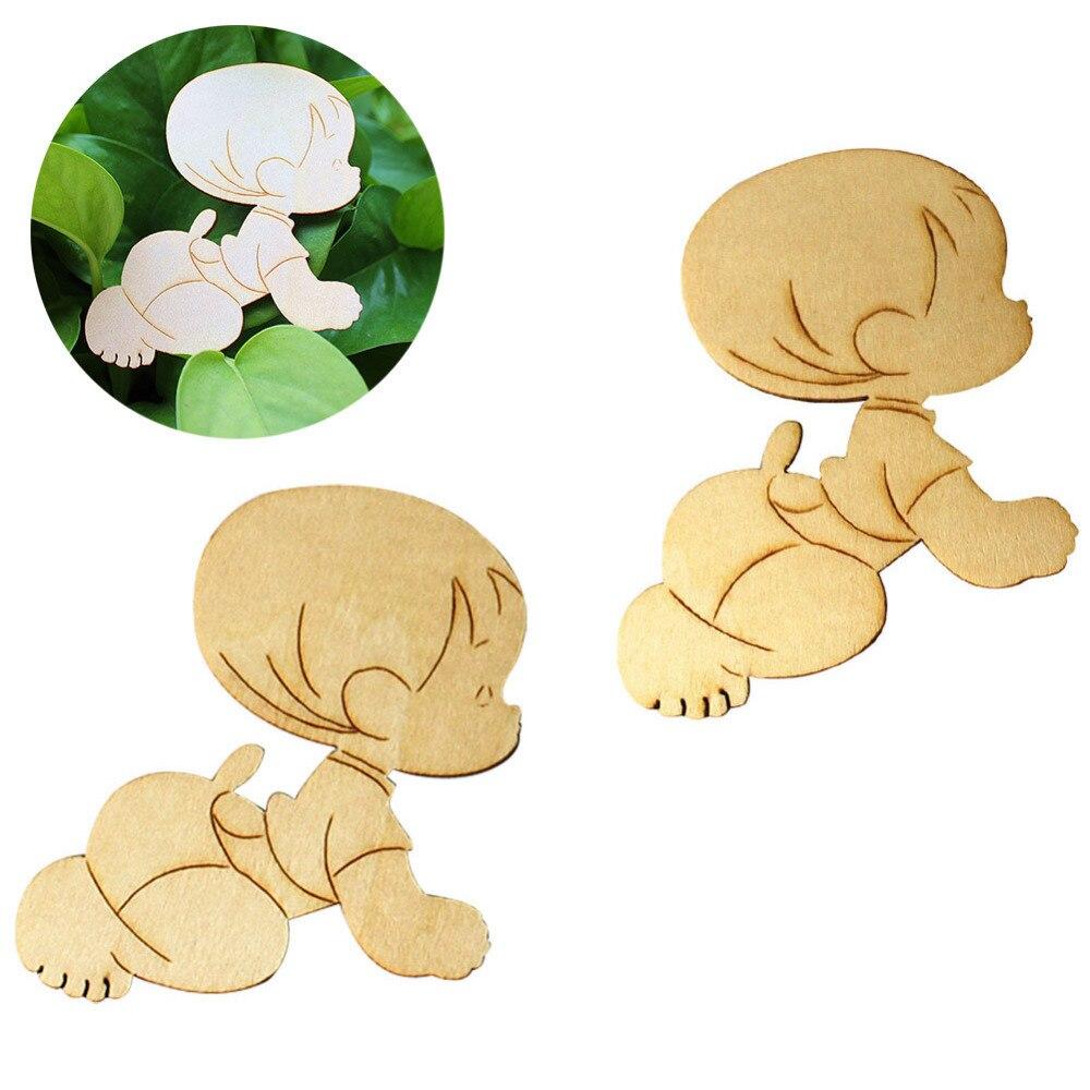 50 Stück Baby Füße Formen Holzknöpfe Handwerk Tags Verschönerungen Familie Dekor
