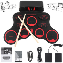 Portable Roll Up Electronic Drum Set 9 Silicon Pads Built-in Speakers with Drumsticks Sustain Pedal Support USB MIDI цены онлайн