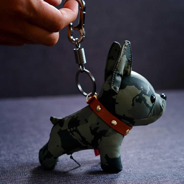 Bulldog Keychain Animal Cão de Couro Pu Chaveiro Saco Titular Saco Bulldog Charme Bugiganga Chaveiros Acessórios Estilo Punk Pingente