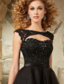 Vestido Cocktail 2016 Short Black Cocktail Dresses Scoop Organza Appliques Beaded Backless Party Dress vestido de festa curto