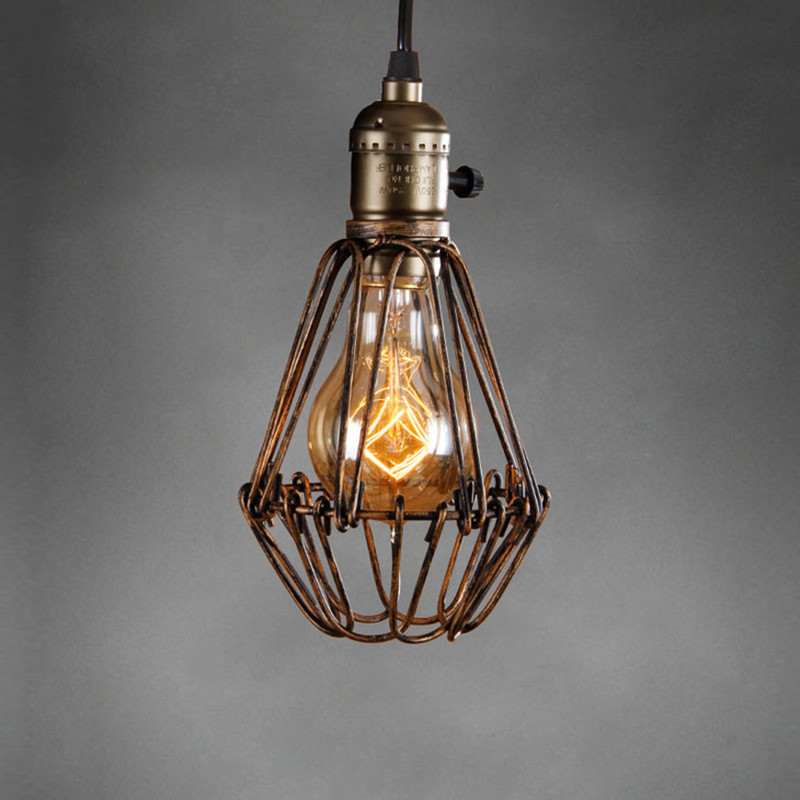 Retro vintage industrial lamp covers pendant trouble light bulb retro vintage industrial lamp covers pendant trouble light bulb guard wire cage ceiling fitting hanging bars cafe lamp shade in lamp covers shades from greentooth Choice Image