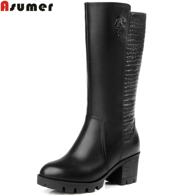 Asumer black new arrive women boots fashion genuine leather boots wool keep warm zipper square heel cow leather mid calf boots memunia fashion women boots round toe genuine leather boots zipper square heel wool keep warm cow leather mid calf boots